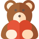 Valentines Day Icons 2017: colored, teddy, bear, flushed, glowing, hued, shaded, stained, tinged, tinted, washed, camisole, dishabille, nightdress, nightie