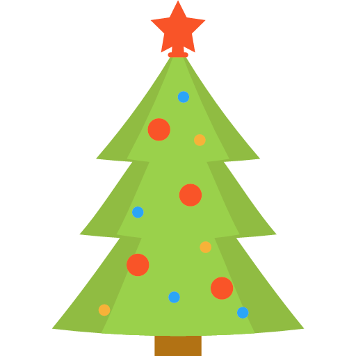Christmas Tree Facebook Icon: 2 De 3 Flat Color Christmas Tree Icon