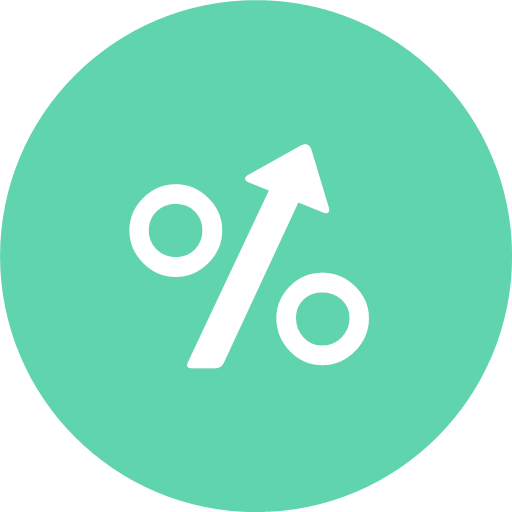 Arrow up interest percentage sign icon - Banking And Finance