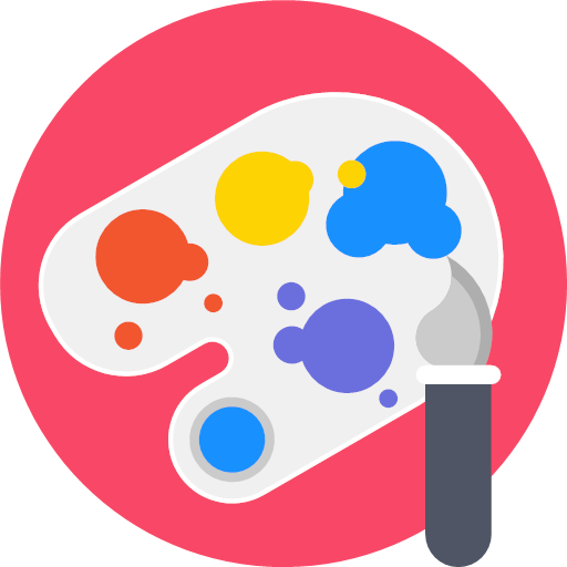 Artistic brush materials paint paintbrush palette icon - Round Varieties