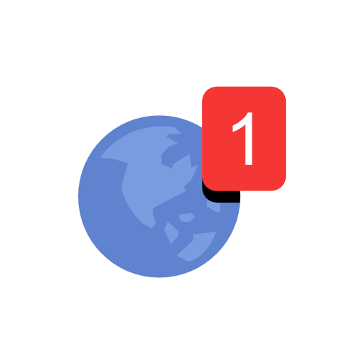 globe, notification, one, notification, icon, map, planet, world, apple, ball, balloon, orb, round, spheroid, big blue marble