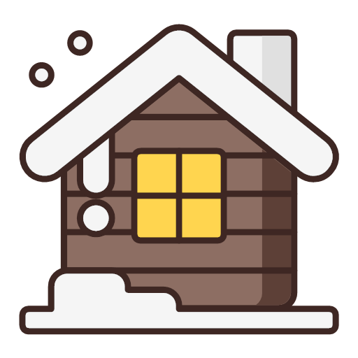 house, snow, winter, wooden, house, icon