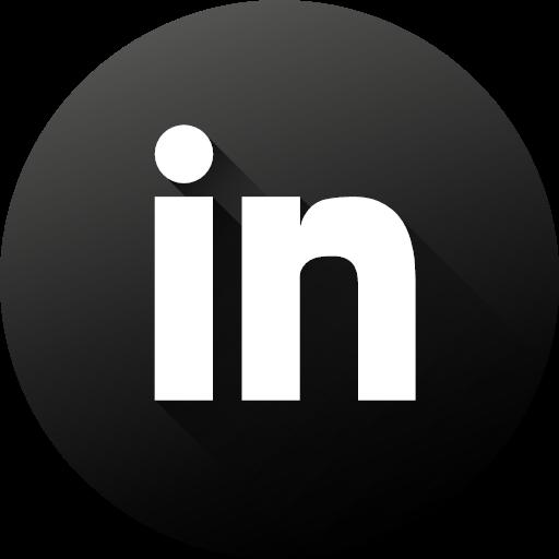 White Circle High Quality Linkedin Long Shadow Social Social