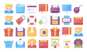 Web And Mobile Icon Bundle. Color