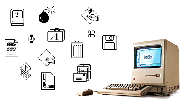 The first icons appeared in Apple, on the Macintosh.